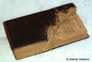 Bullet damaged Bible